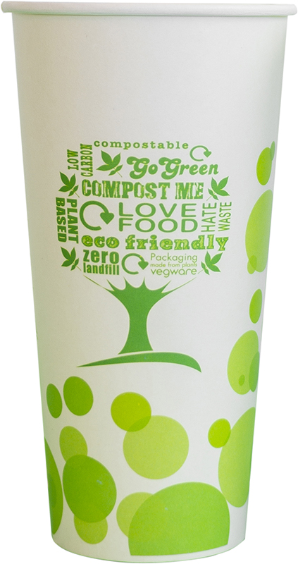 22oz (650ml) cold paper cup - green tree - Vegware