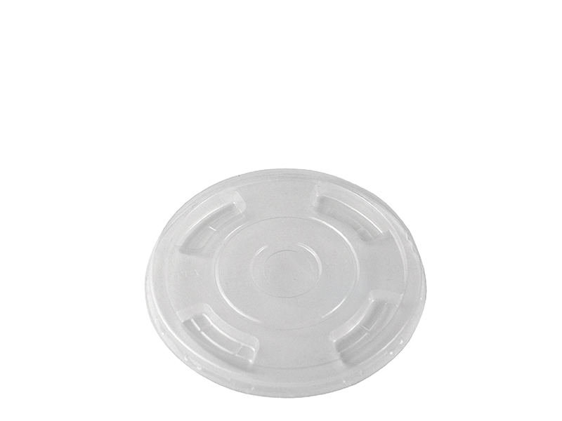 90mm PLA flat lid with X straw hole - clear - Vegware
