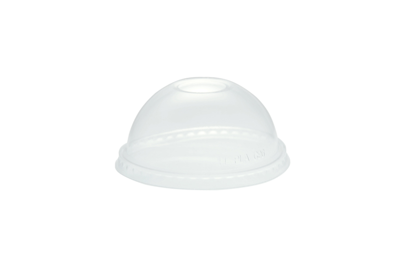 96mm PLA dome lid, straw hole (fits standard cup) - clear - Vegware