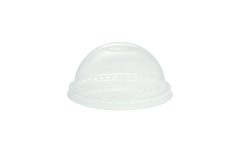 96mm PLA dome lid, no hole (fits standard cup) - clear - Vegware