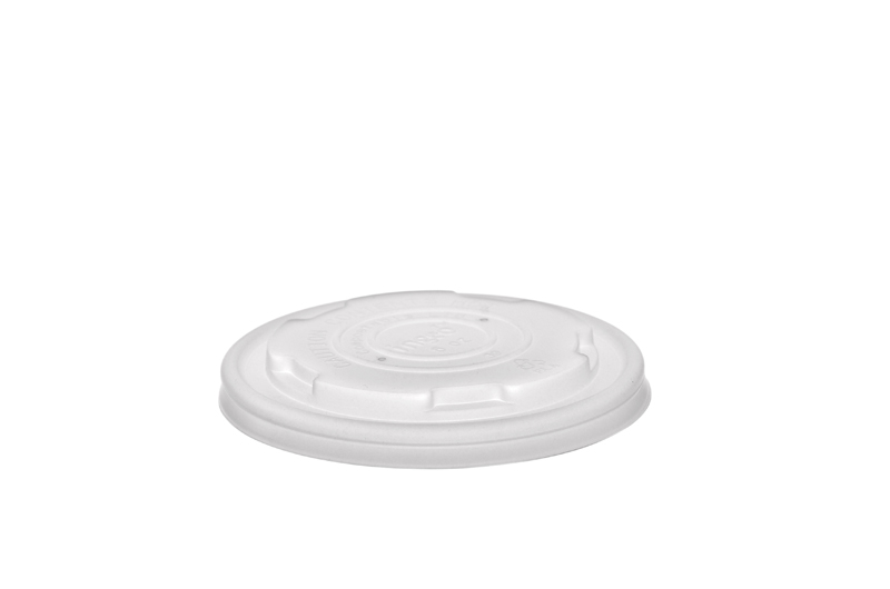 90mm flat CPLA hot lid (fits 6-8oz bowls) - opaque - Vegware