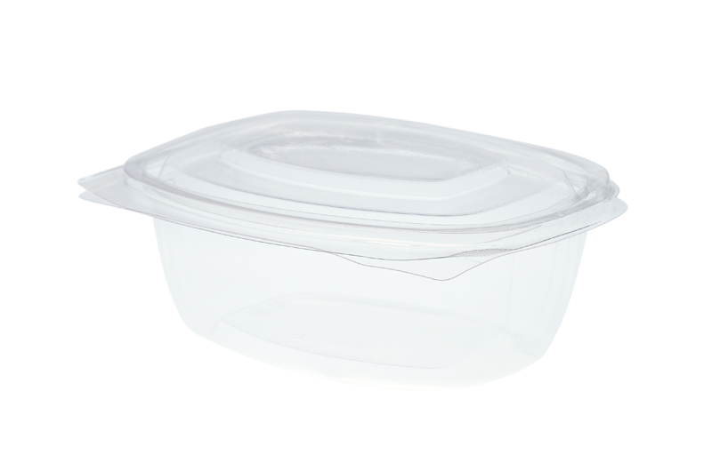 16oz (500ml) PLA rectangular hinged container - clear - Vegware