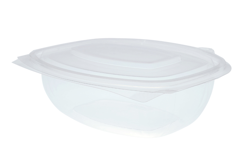 48oz (1500ml) PLA rectangular hinged container - clear - Vegware