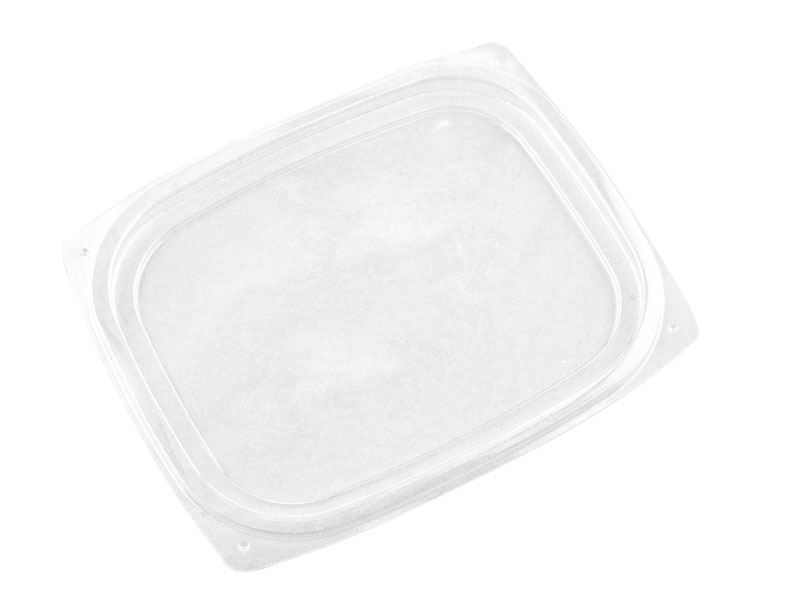 PLA rectangular container lid (fits 8,12,16oz) - clear - Vegware