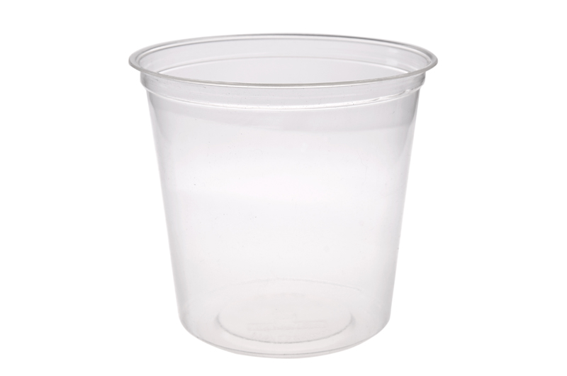 24oz (750ml) PLA round container - clear - Vegware