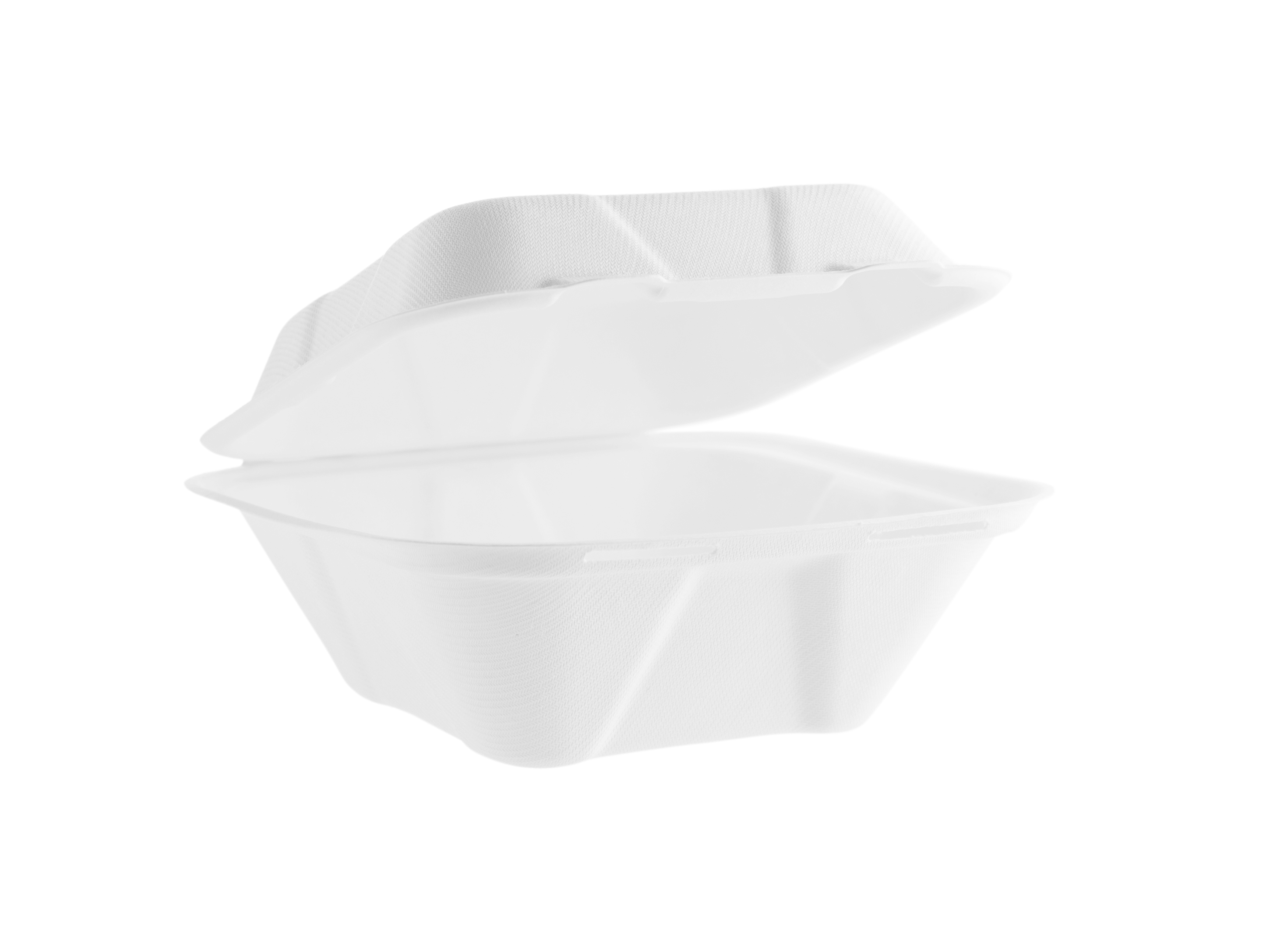 7in square bagasse clamshell - white - Vegware