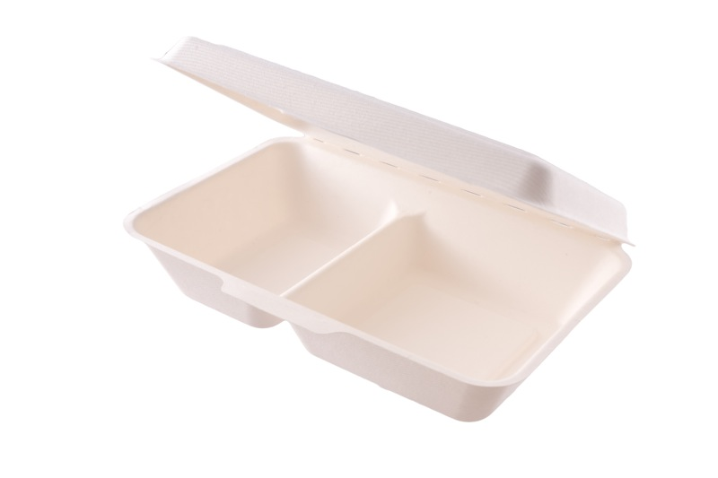 9 x 6in (2 compartment) bagasse meal box - white - Vegware