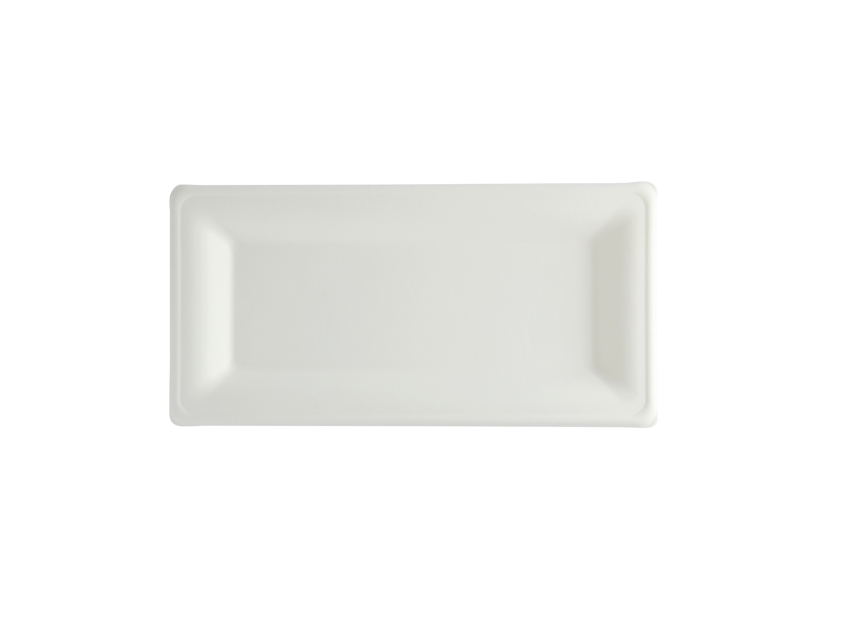 10 x 5in rectangular bagasse plate - white - Vegware