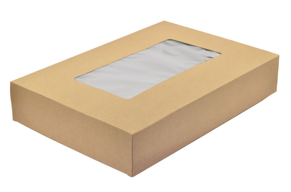 Large sandwich platter box and insert - kraft - Vegware