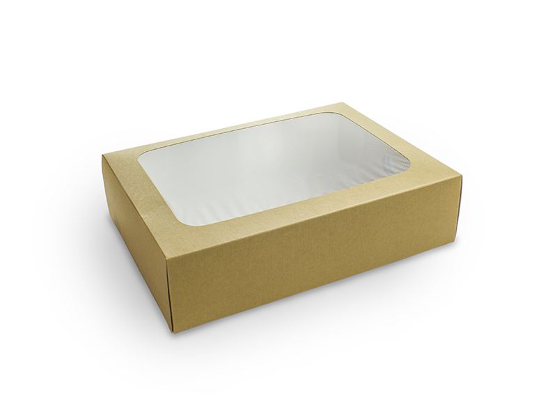 Half size sandwich platter box and insert - kraft - Vegware