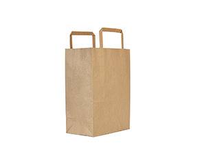 18w x 21h x 9d cm small recycled paper carrier bag - kraft - Vegware
