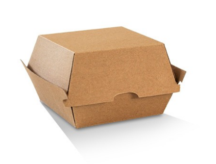"Corrugated Enviro Clamshell PLAIN ""HIGH BURGER BOX"""