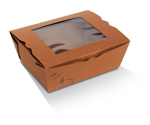 Medium Lunch Box Kraft PLA Window (152x120x64)