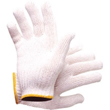 Gloves White Poly Cotton Knitted