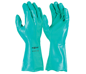 Gloves Nitrile Chemical Flocklined 33cm Long