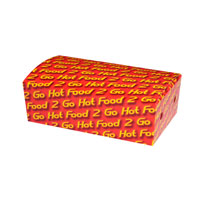 "Small snack box printed ""Hot Food 2 Go"""