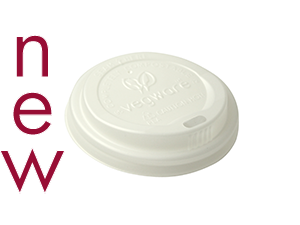 72mm CPLA hot cup lid (fits 6oz cup) - opaque - Vegware