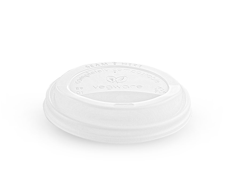 89mm hot cup lid (fits 10-20oz cup) - opaque - Vegware