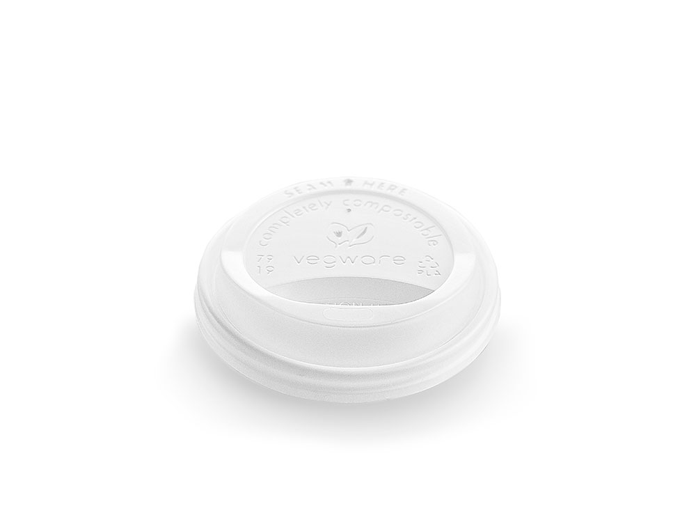 79mm hot cup lid (fits 8oz cup) - opaque - Vegware
