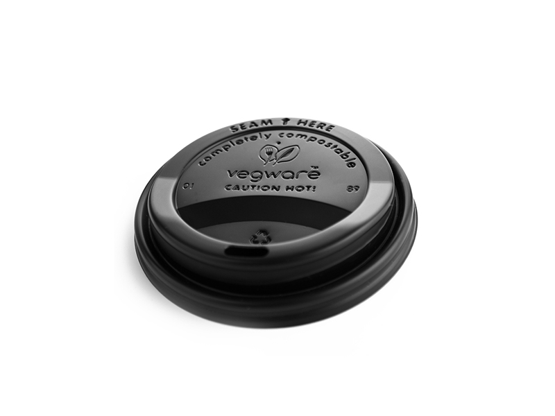 79mm hot cup lid (fits 8oz cup) - black - Vegware