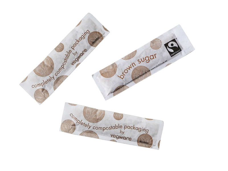 Fairtrade raw sugar sticks, compostable wrap - Vegware