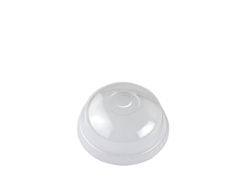 76mm PLA dome lid, straw slot (fits slim cup) - clear - Vegware