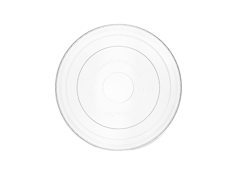 115mm flat PLA cold lid (fits 12-32oz bowls) - clear - Vegware