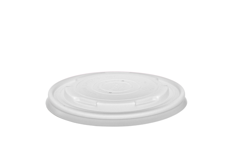 115mm flat CPLA hot lid (fits 12-32oz bowls) - opaque - Vegware