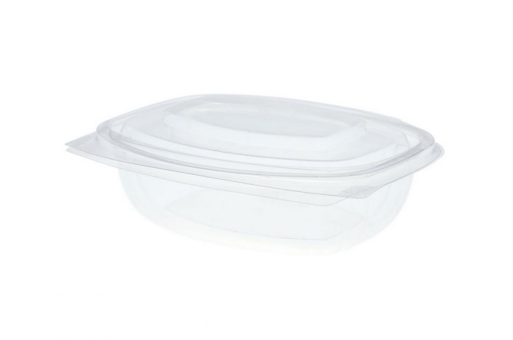 12oz (375ml) PLA rectangular hinged container - clear - Vegware