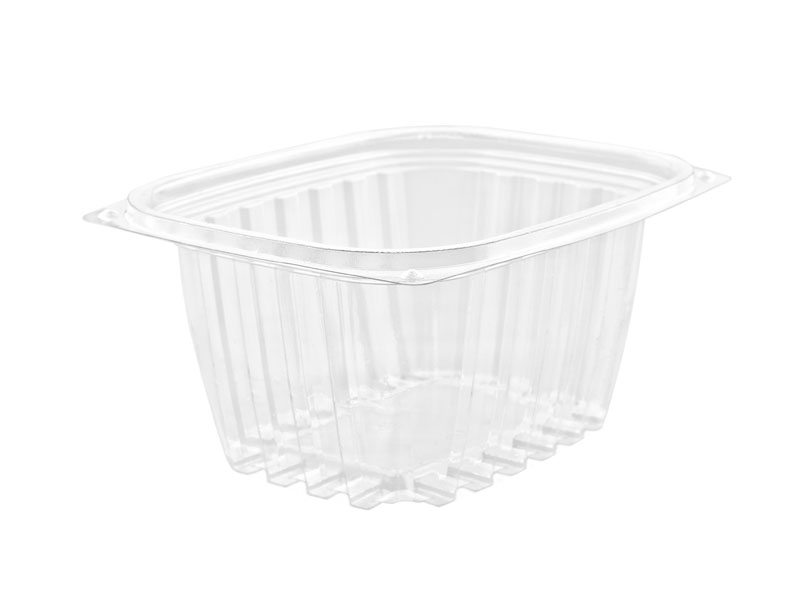 16oz (500ml) PLA rectangular container - clear - Vegware