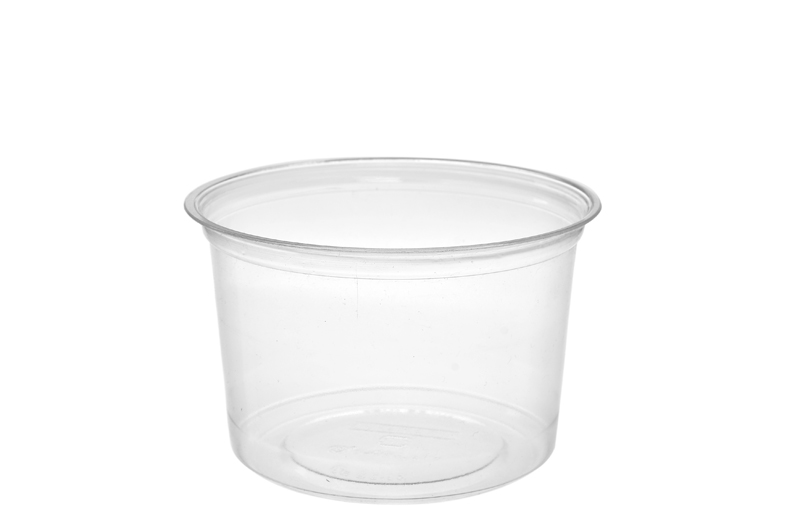16oz (500ml) PLA round container - clear - Vegware