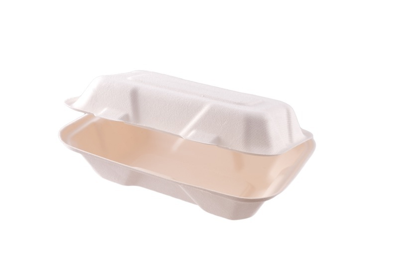 9 x 6in large bagasse clamshell - white - Vegware