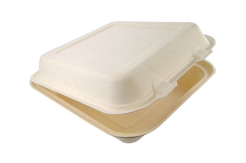 9in (3 compartment) bagasse lunch box - white - Vegware