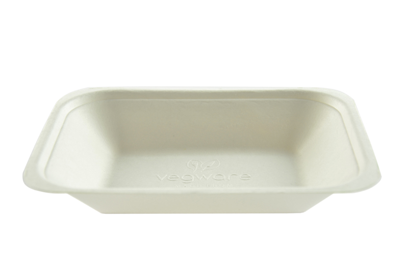 7 x 5in bagasse chip tray - white - Vegware