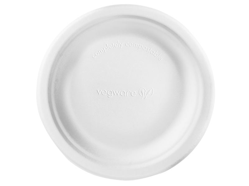 6in bagasse plate - white - Vegware