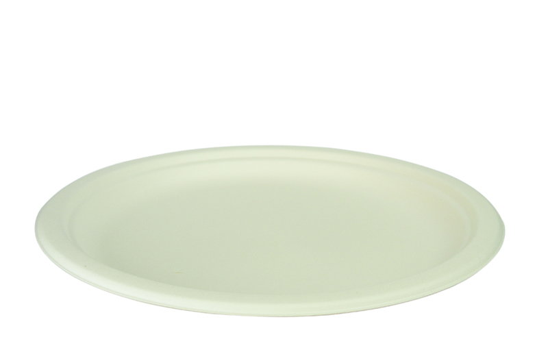 9in bagasse plate - white - Vegware