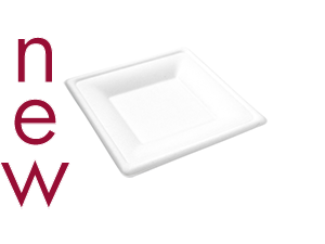 6in square bagasse plate - white - Vegware