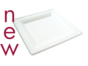 8in square bagasse plate - white - Vegware