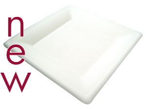 10in square bagasse plate - white - Vegware