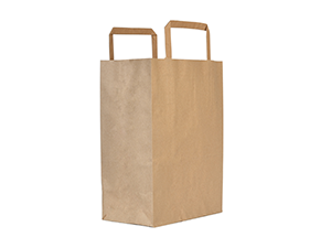 22w x 25h x 10d cm medium recycled paper carrier bag - kraft - Vegware