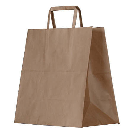 "Brown Kraft Bag - Takeaway ""305x310x175"" (Flat Handle)"