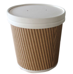 Corrugated 19oz Soup Container & Lid (Included)