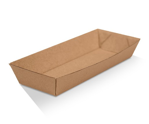 Corrugated Hotdog Tray Brown Kraft 100x240x35 mm