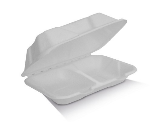 "Enviro Lunch Sugarcane Clamshell 9x6x3"" - 2 Compartments (251 x 163 x 71mm) SCR"